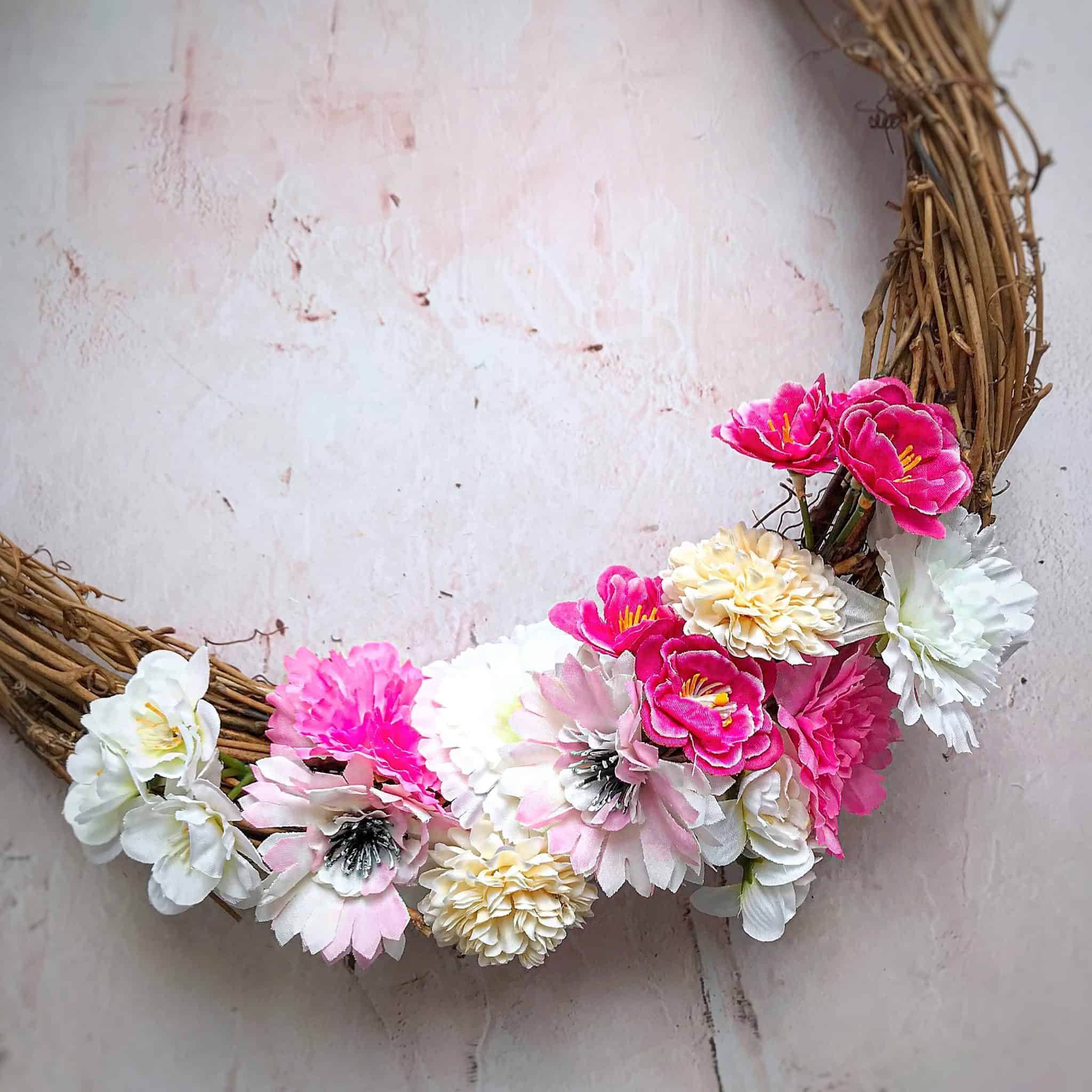 Make an easy spring wreath using fake flowers