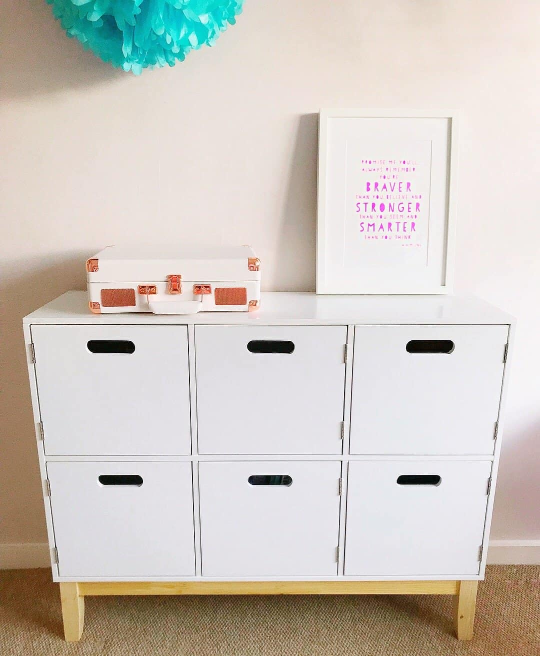 White Aldi storage unit in the new playroom