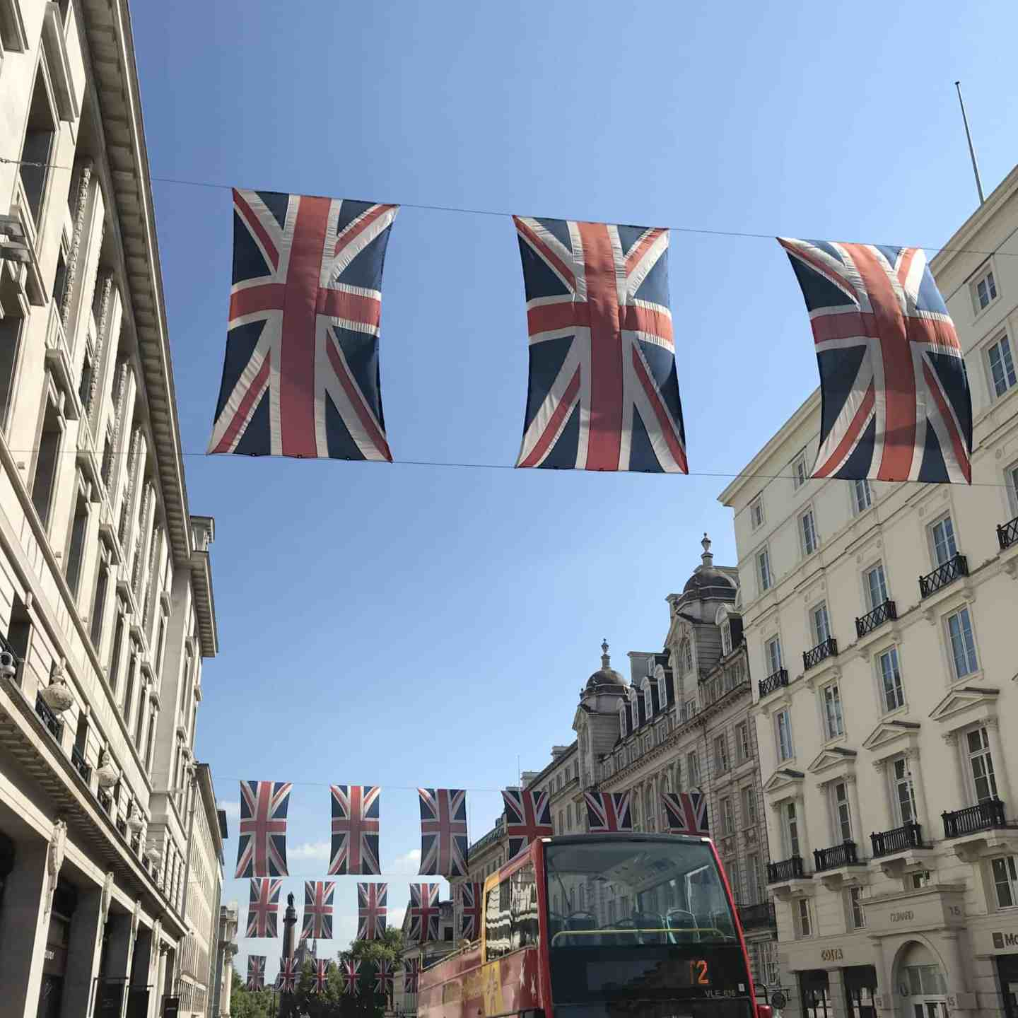 London street with Union Jack flags