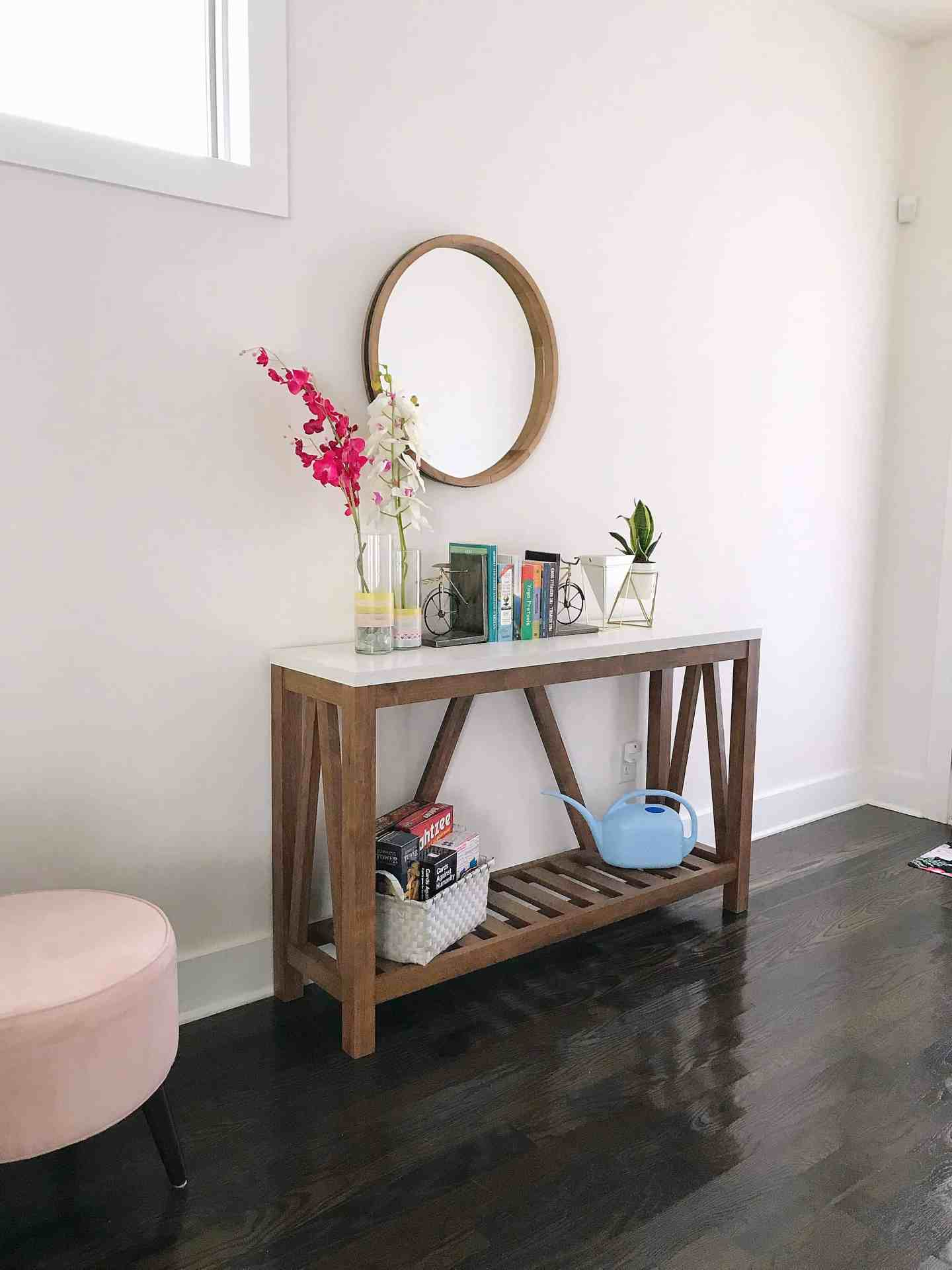 Hall console table with oversized mirror