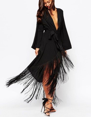 ASOS TALL Fringe Deep Plunge Maxi Dress
