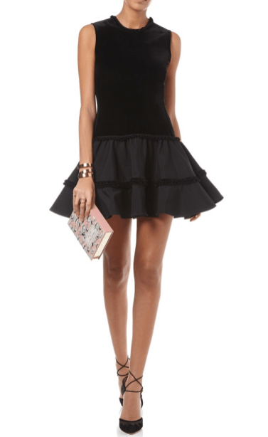Emilio de la Morena Black Velvet Frill Claude Dress