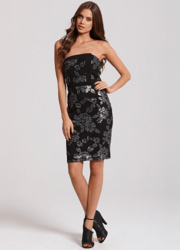 Girls On Film Bandeau black and silver embellished dress
