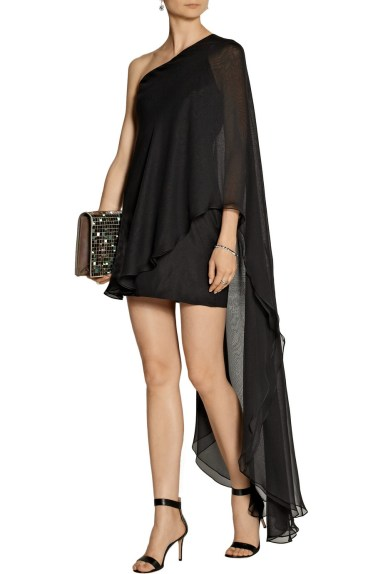 HANEY Amy one-shoulder silk-chiffon mini dress