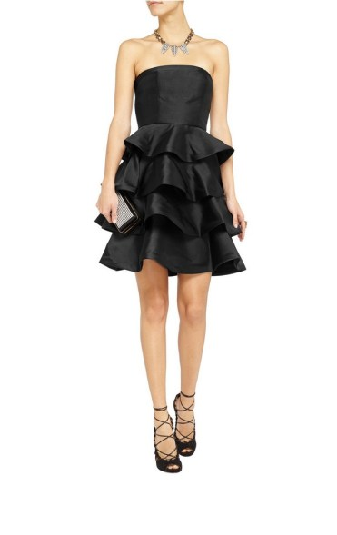 MIKAEL AGHAL Ruffled satin-twill dress