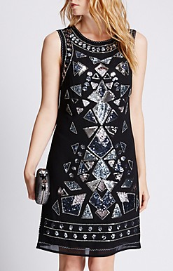 Marks and Spencer Sequin and Bead Embellished Shift Dress