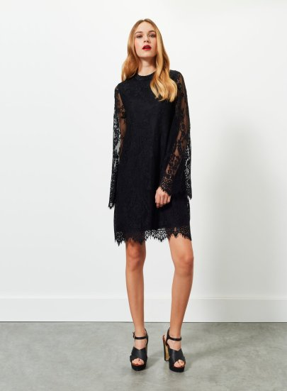 Miss Selfridge Black Lace Swing Dress