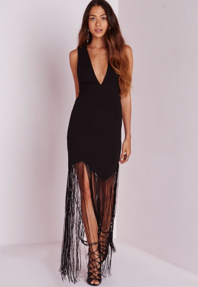 Missguided crepe plunge tassel maxi dress black