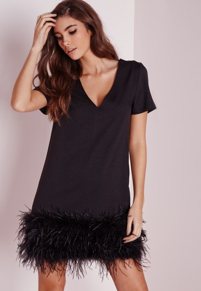 Missguided feather trim shift dress black