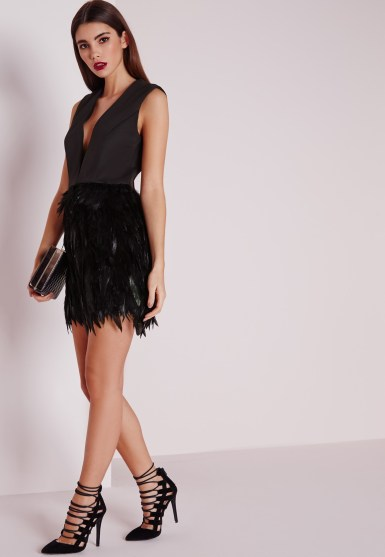 Missguided premium feather skirt plunge dress black