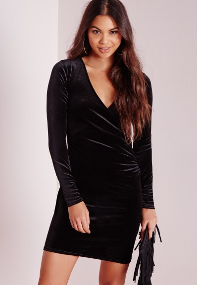 Missguided velvet wrap over bodycon dress black