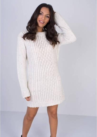 Missy Empire CELIA CREAM CABLE KNIT DRESS