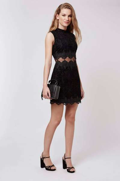 Topshop Flock Sheer Lace Panel Dress