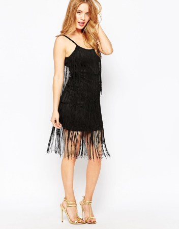 True Decadence Petite Fringed Strappy Bodycon Dress