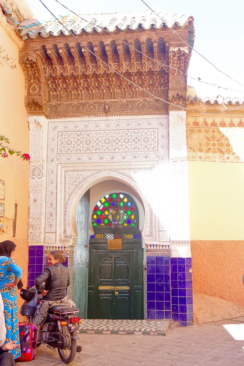 Beautiful architecture and stained glass in the medina, Marrakech
