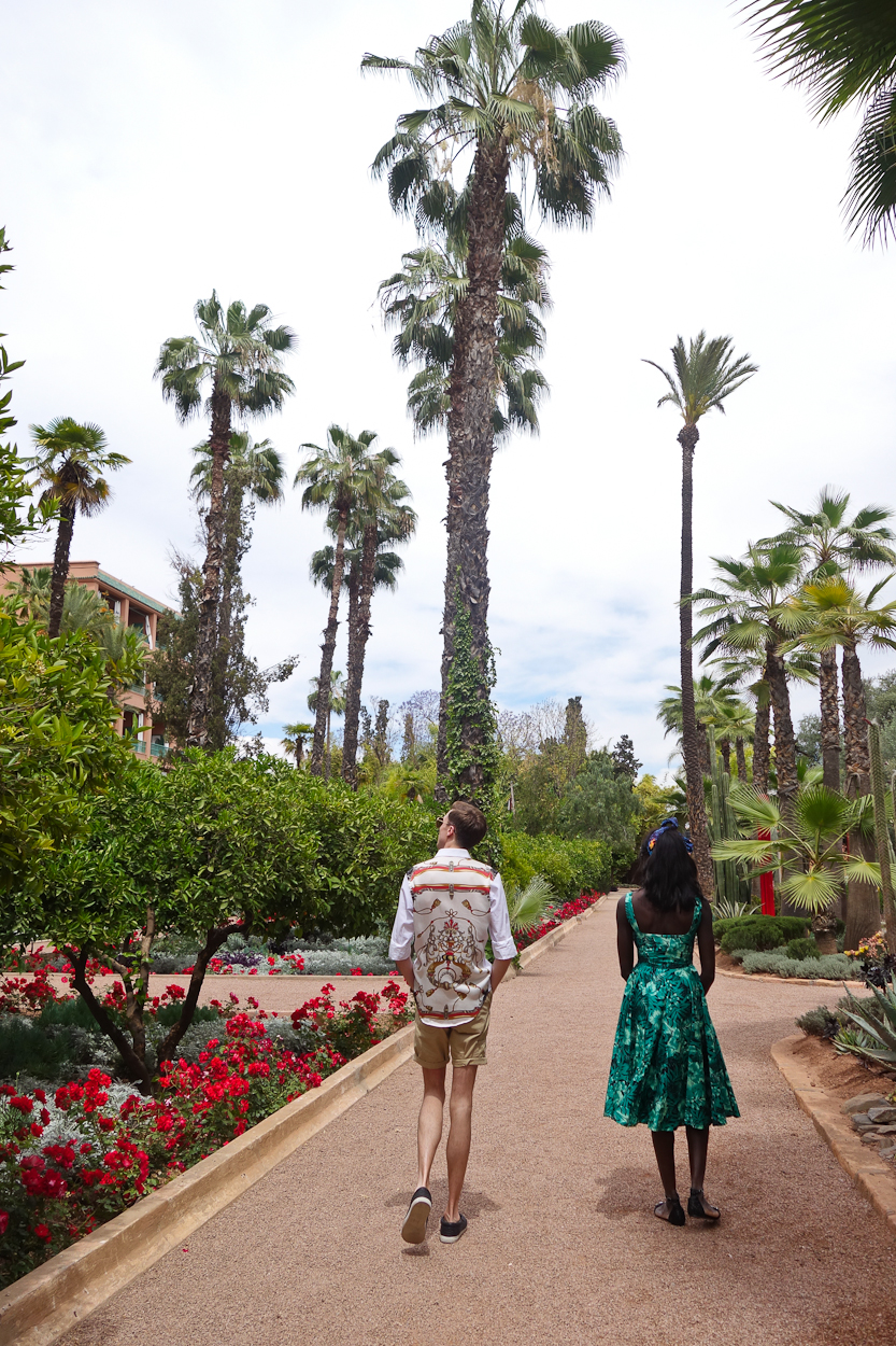 Exploring the gardens of La Mamounia hotel, Marrakech