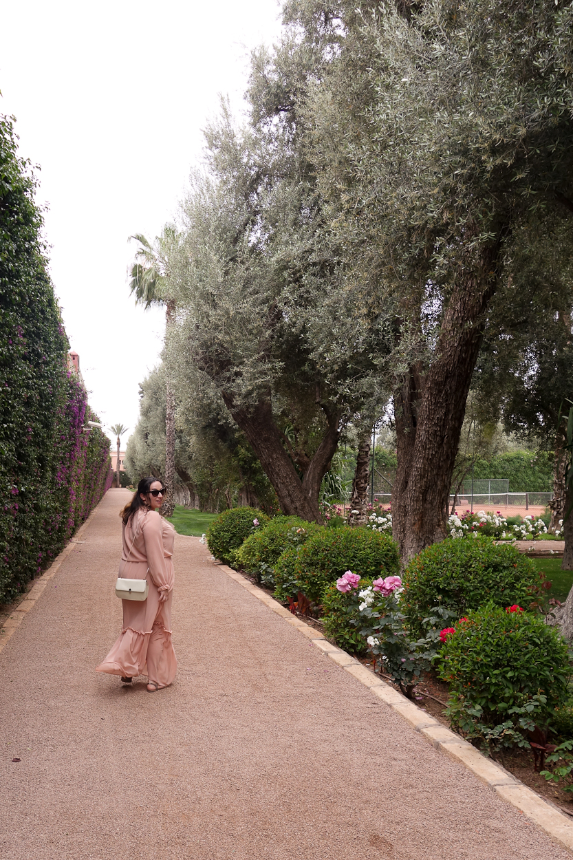 pinkschmink in the grounds at La Mamounia hotel, Marrakech
