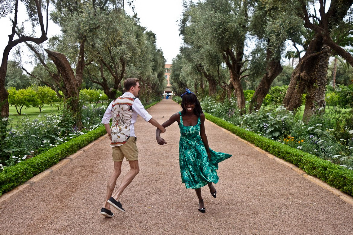 Antoine and Amah dancing in the gardens at La Mamounia hotel, Marrakech