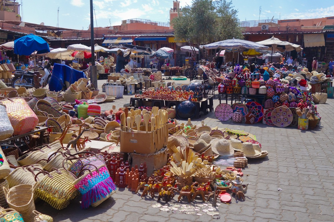 Handmade goods for sale in the square, Marrakech