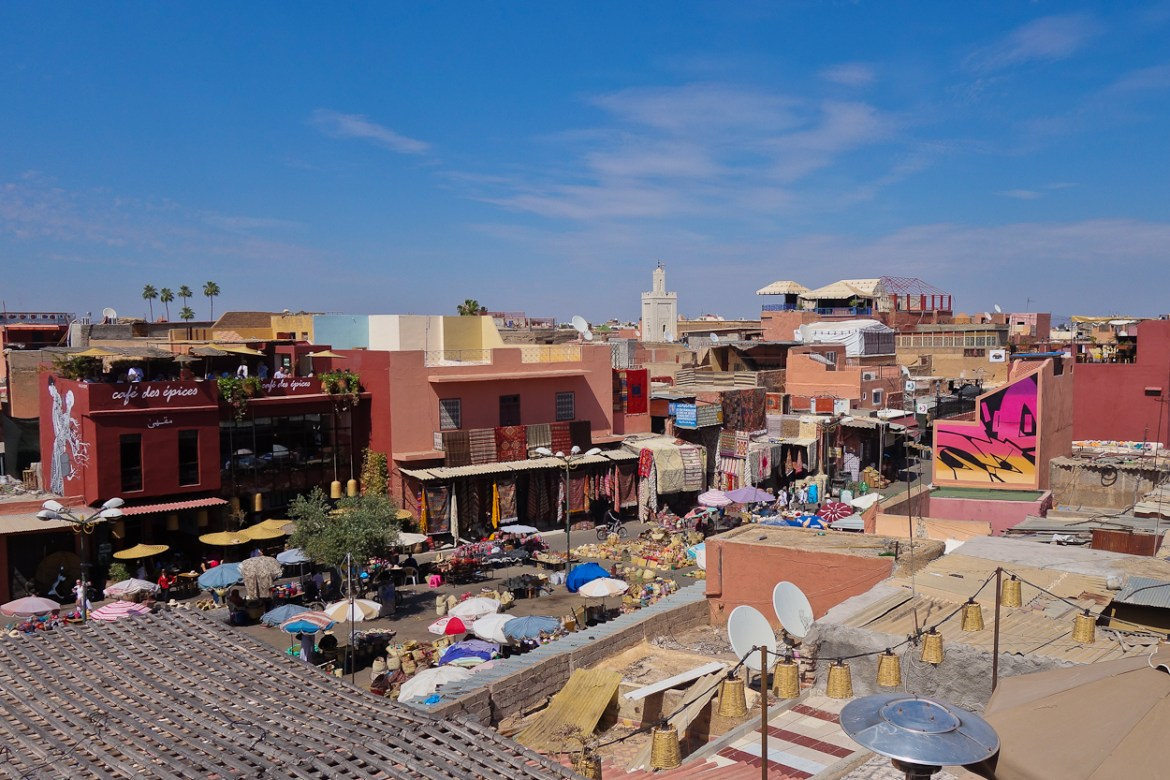 View over the medina from the rooftop terrace at Nomad restaurant, Marrakech