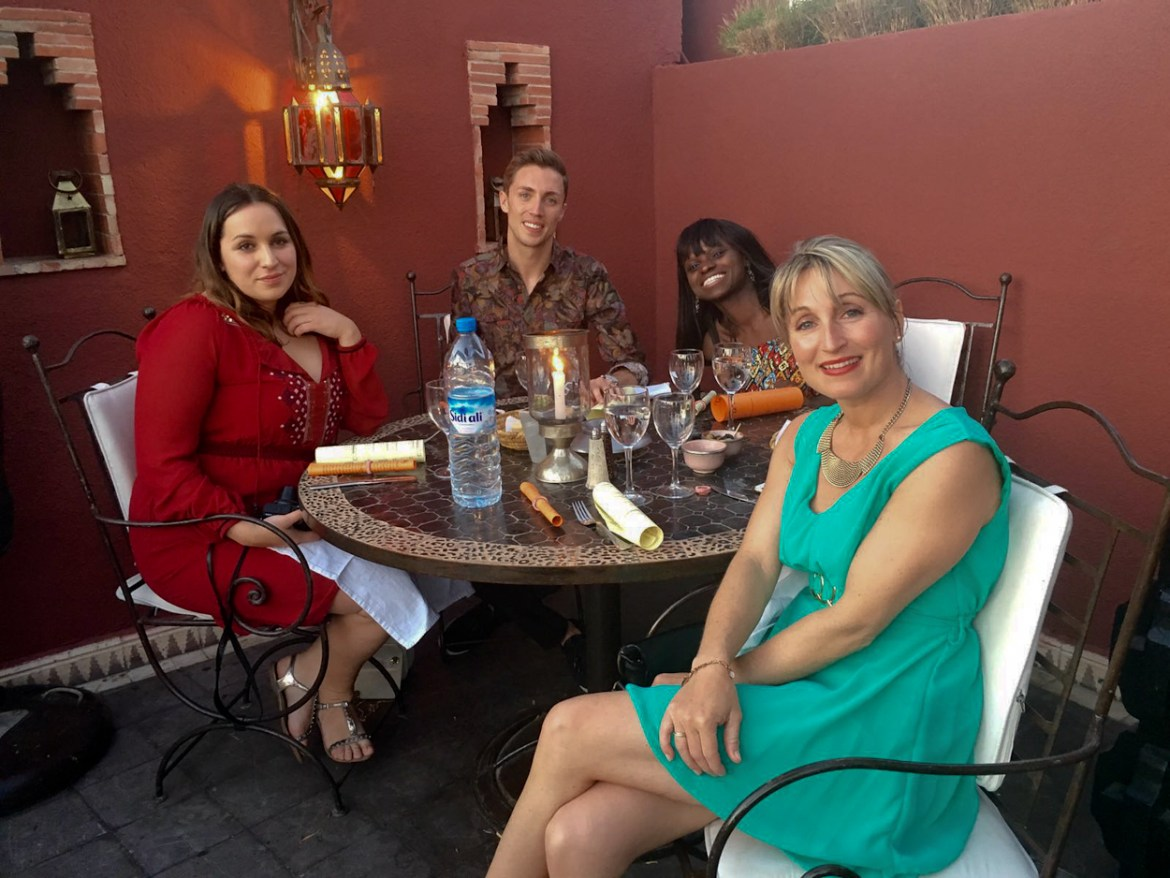 pinkschmink and friends dining at Le Foundouk, Marrakech