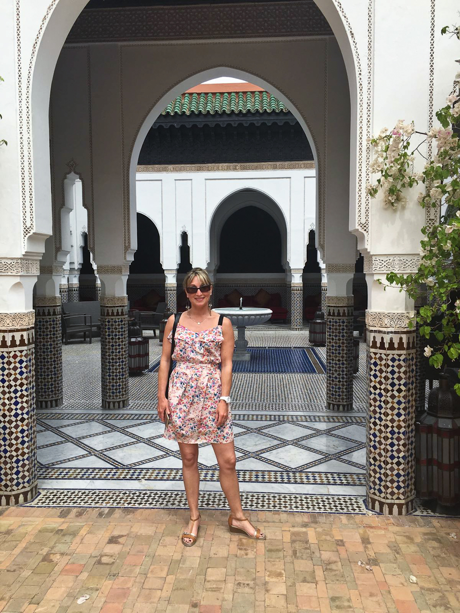 Catherine at the riad at La Mamounia hotel, Marrakech