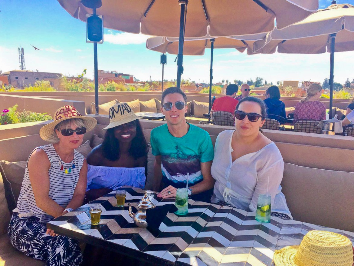 Catherine, Amah, Antoine and pinkschmink on the rooftop terrace at Nomad restaurant, Marrakech