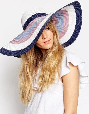 ASOS Oversized Straw Floppy Hat In Pastel Stripe
