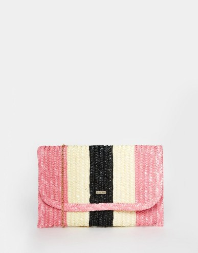Nali Striped Straw Clutch Bag