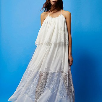 River Island RI Studio white layered maxi dress