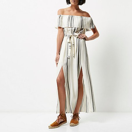 River Island White stripe bardot maxi dress