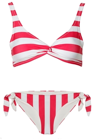 Solid and Striped The Jane Bikini in Raspberry Stripe