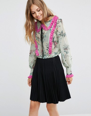 ASOS Bird Print Floral Blouse with Contrast Pleat