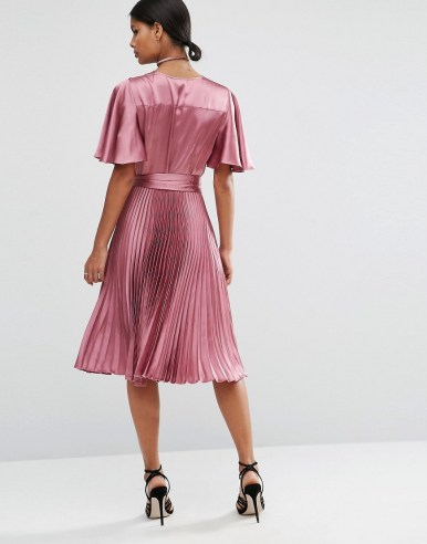 ASOS Pleated Wrap Midi Dress in Satin