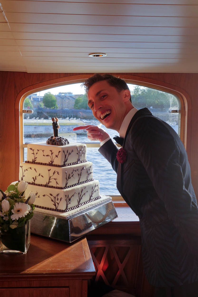 Antoine with his wedding cake aboard the MV Edwardian, London