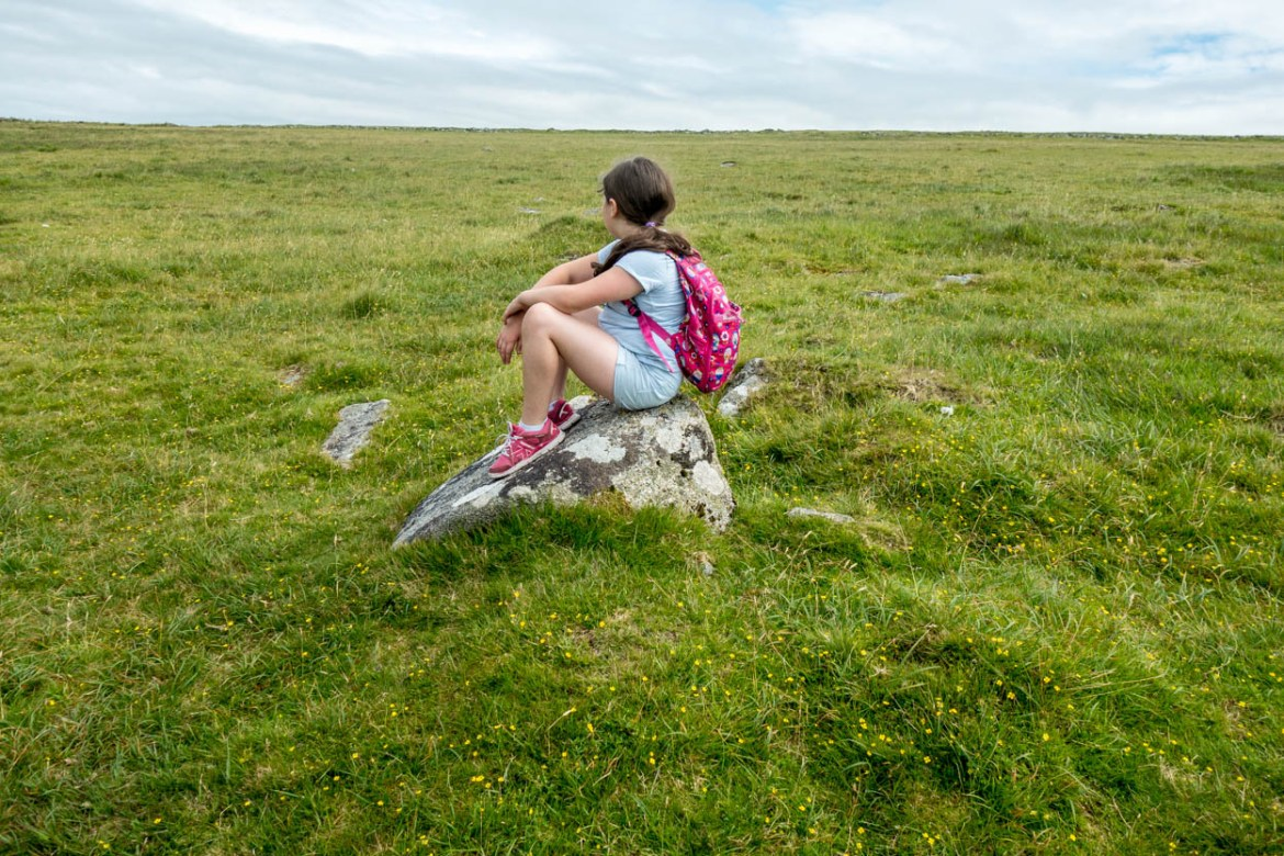 Miss France stops for a rest on the hike up to Rough Tor on Bodmin Moor, Cornwall