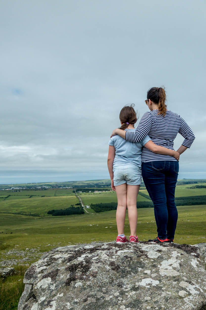 Miss France and pinkschmink admire the view of Bodmin Moor, Cornwall