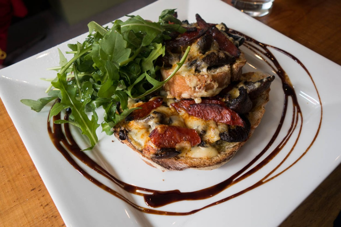 Devilled mushrooms and chorizo on sourdough toast at The Shed in Wadebridge, Cornwall