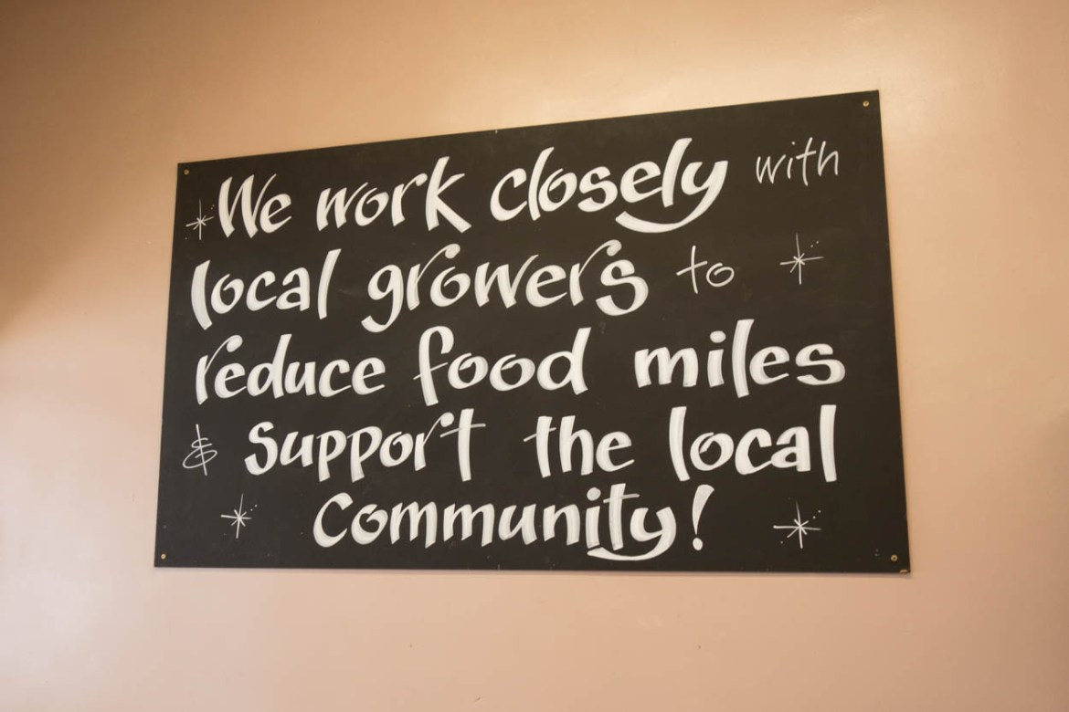 Local growers sign at The Vine greengrocer in Wadebridge, Cornwall