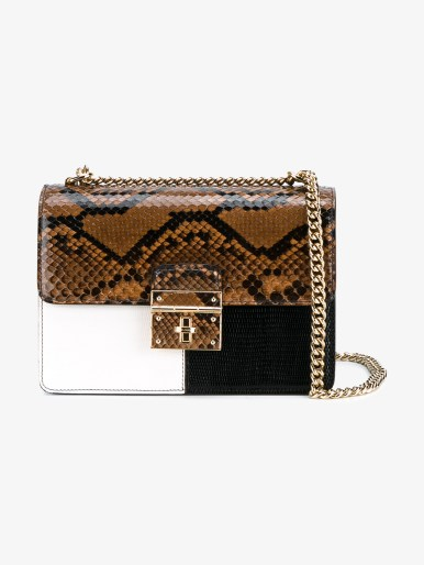 DOLCE & GABBANA Snakeskin and Textured Leather Box Bag
