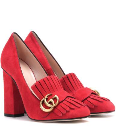 GUCCI Suede loafer pumps