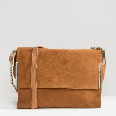 River Island Tan Suede Foldover Bag With Chain Strap