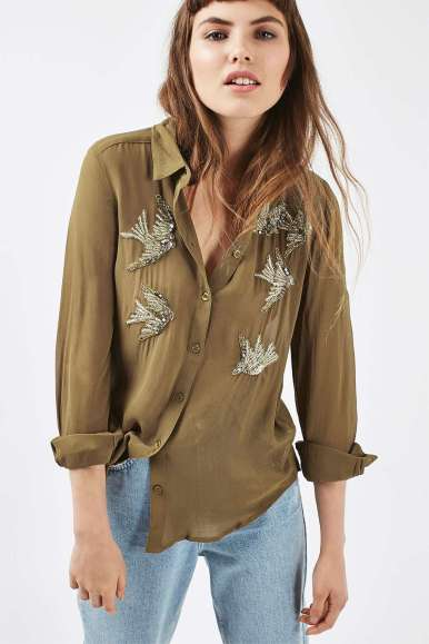 Topshop Embellished Swallow Shirt