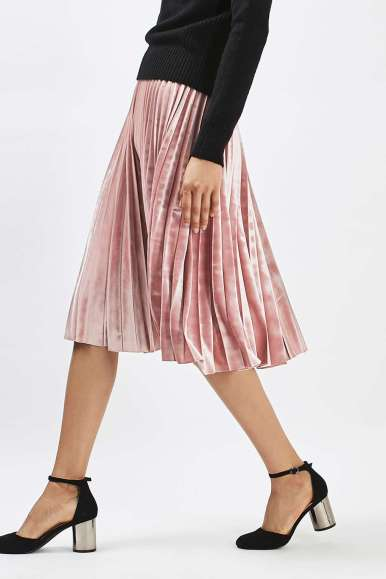 Topshop Velvet Pleat Midi Skirt