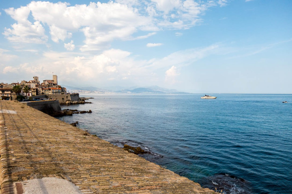 View of Vieil Antibes from the ancient ramparts across the Baie Des Anges to Nice and Saint-Jean-Cap-Ferrat