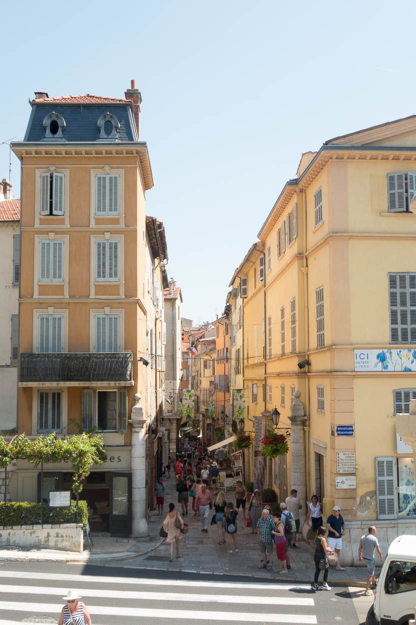 Narrow streets into the old town of Grasse