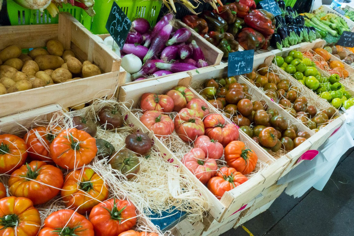 Fresh heirloom tomatoes at the Marché Provençal in Antibes