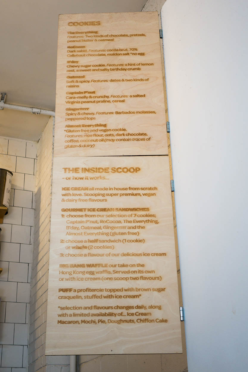 Menu at Bang Bang Ice Cream, Toronto