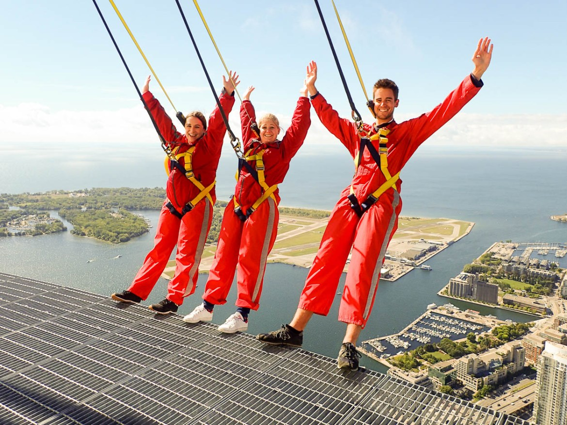 pinkschmink leaning back over Toronto with Jenna and Guy on the EdgeWalk at the CN Tower
