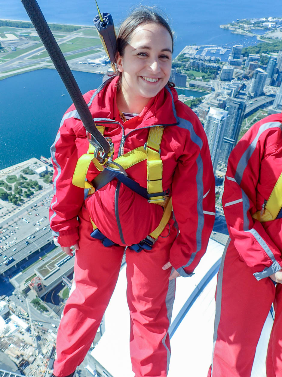 pinkschmink on the EdgeWalk at the CN Tower, Toronto